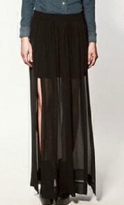 Black Pleated Chiffon Split Side Long Sheer Skirt