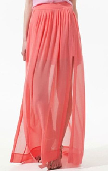 Pink Pleated Chiffon Split Side Long Sheer Skirt -SheIn(Sheinside)