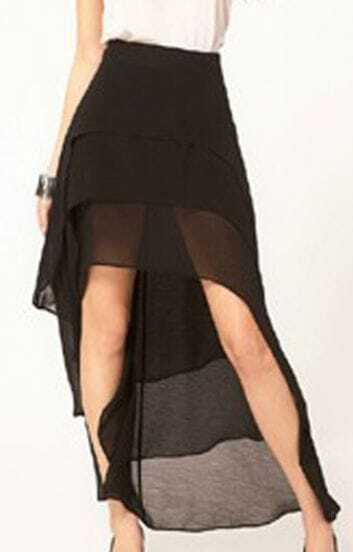 Black Chiffon Three-tier Dovetail Dipped Hem Skirt