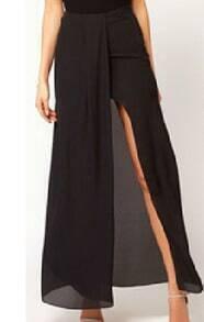 Black Split Front Irregular Chiffon Maxi Skirt