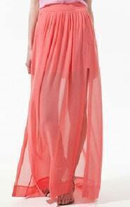 Pink Pleated Chiffon Split Side Long Sheer Skirt