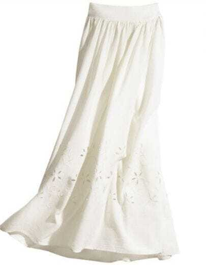 White Eyelet Flower Embroidery Pleated Maxi Skirt