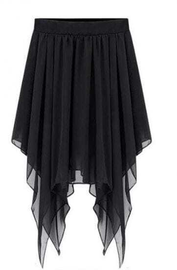 Black Irregular Hem Chiffon Pleated Short Skirt