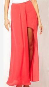 Coral Split Front Irregular Chiffon Maxi Skirt