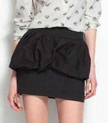 Black Bubble Peplum Zipper Back Mini Skirt