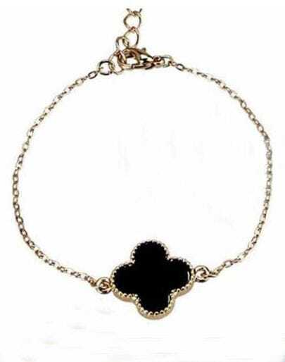 Black Gold Alloy Four Cover Leaf Chain Bracelet