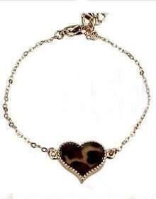 Brown Leopard Gold Alloy Heart Chain Bracelet