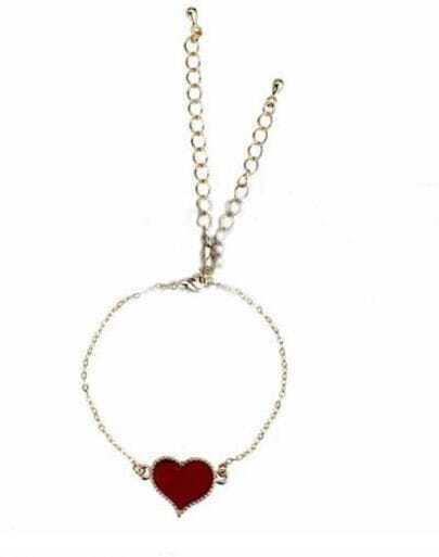 Red Gold Alloy Heart Chain Bracelet