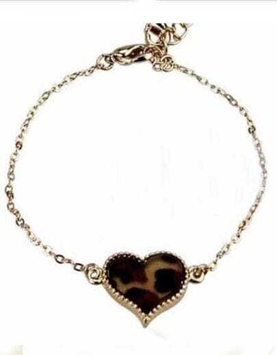 Brown Leopard Gold Alloy Heart Chain Bracelet