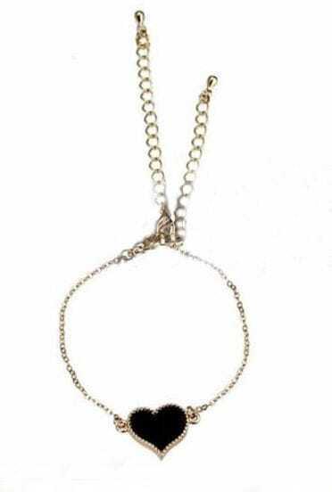 Black Gold Alloy Heart Chain Bracelet