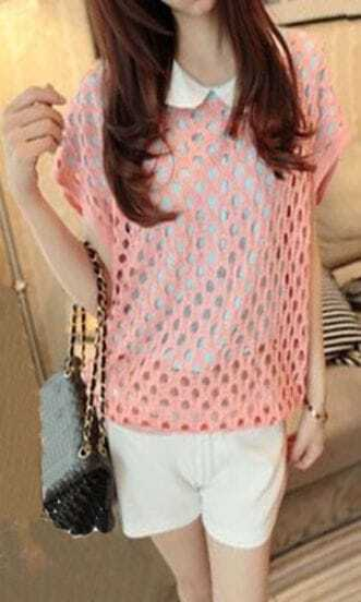 Pink Round Neck Short Sleeve Open Stitch Sweater