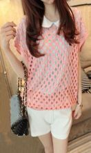 Pink Round Neck Short Sleeve Open Stitch Sweater