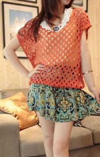 Orange Round Neck Short Sleeve Open Stitch Sweater