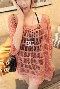 Pink Dolman Sleeve Lace Hem Open Stitch Sweater