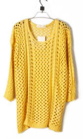 Yellow Round Neck Long Sleeve Open Mesh Stitch Sweater