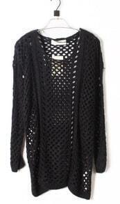 Black Round Neck Long Sleeve Open Mesh Stitch Sweater