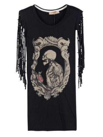 Black Round Neck Short Sleeve Skull Print Tassel Rivet Cotton T-Shirt