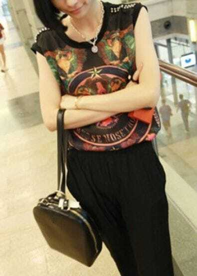 Black Round Neck Sleeveless Rivet Print Chiffon T-Shirt