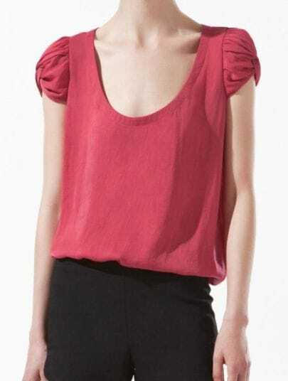 Red Scoop Neck Short Puff Sleeve Chiffon T-Shirt