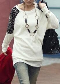White Round Neck Long Sleeve Leopard Cotton Blends T-Shirt