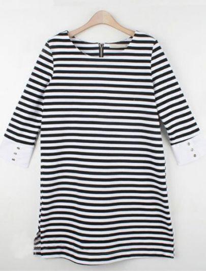 Black White Round Neck Half Sleeve Striped Loose Cotton T-Shirt