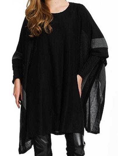 Black Round Neck Half Sleeve Loose Batwing Wool Sweater