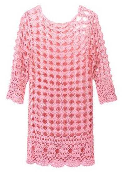 Pink Round Neck Half Sleeve Hollow Cotton Blends Sweater