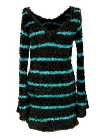 Green Black Round Neck Long Sleeve Striped Polyester Sweater
