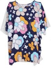Multi Round Neck Short Sleeve Floral Loose Cotton Shirt