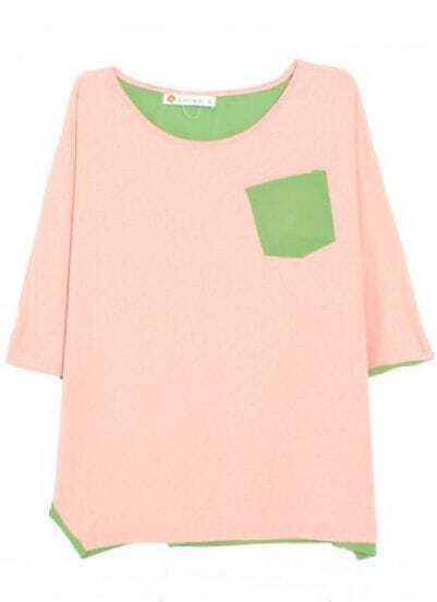 Pink Green Round Neck Batwing Sleeve Loose Cotton Shirt