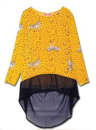 Yellow Navy Polka Dot Zebra Print Contrast Chiffon Hem Blouse