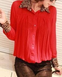 Red Pleated Contrast Leopard Lapel Collar Chiffon Shirt