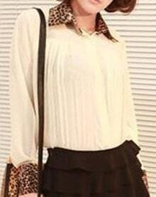 Beige Pleated Contrast Leopard Lapel Collar Chiffon Shirt