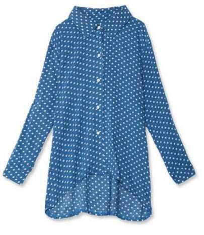 Blue Polka Dot Lapel Collar Chiffon Dipped Hem Shirt
