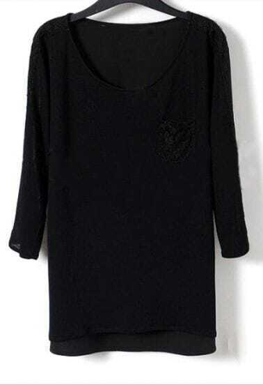 Black Peplum Black Pocket Single Front Long Sleeve Blouse
