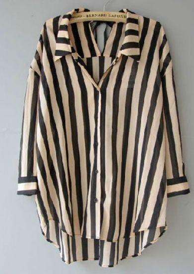 Black Beige Vertical Stripes Tie Back Chiffon Blouse