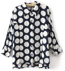 Navy White Polka Dot Batwing Lapel Dipped Hem Shirt