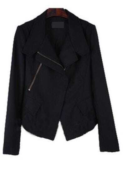 Black Lapel Long Sleeve Zipper Pockets Loose Suit