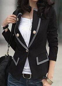 Black Contrast Trims Double Pockets Long Sleeve Suit