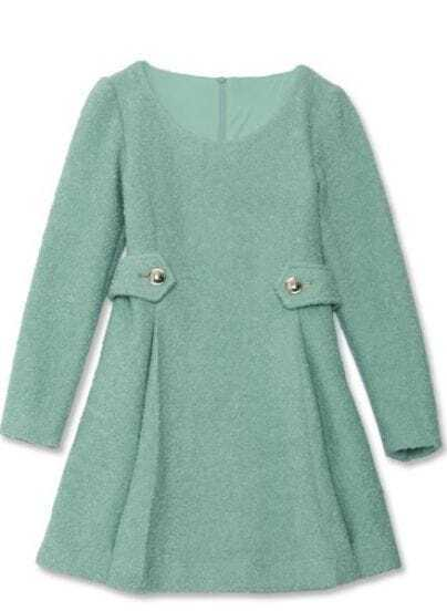 Green Wool Long Sleeve Belted Zip Back Dress