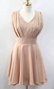 Pink Chiffon Sleeveless Zip Back Ruffles Pleated Dress