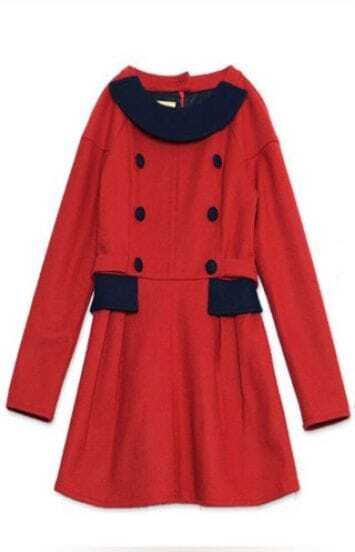 Red Long Sleeve Tie Back Buttons Wool Dress