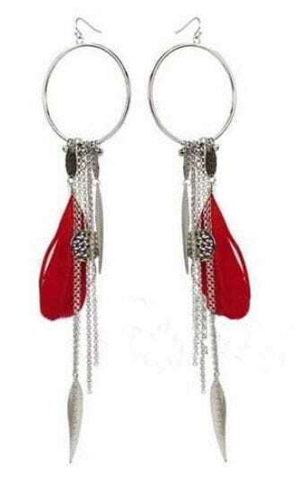 Red Feather Silver Circle Chain and Dangle Earrings