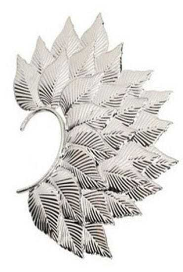 Silver Leaves Overlapped Style Ear Cuff