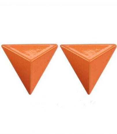Orange Terahedron Style Stud Earring