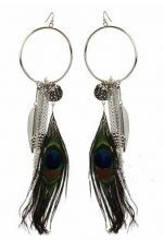 Peacocks Feather Silver Circle and Chain Dangle Earrings