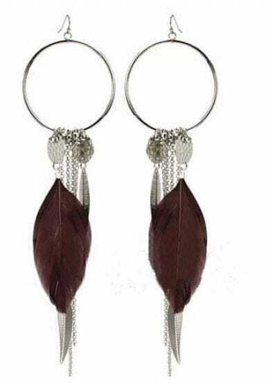Brown Feather Silver Circle and Chain Dangle Earrings