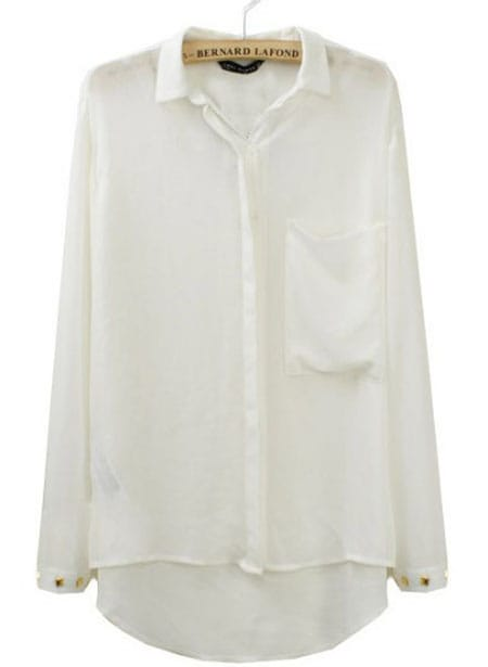 White Pocket Rivets Lapel Chiffon Long Sleeve Blouse -SheIn(Sheinside)