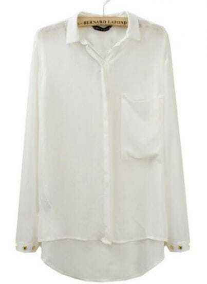White Pocket Rivets Lapel Chiffon Long Sleeve Blouse