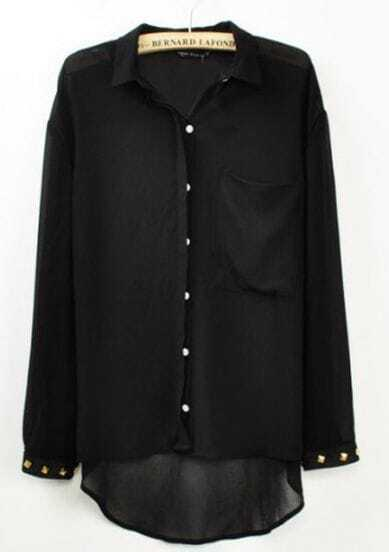 Black Pocket Rivets Lapel Chiffon Long Sleeve Blouse